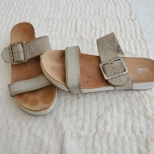 Flatform Slip On Sandals Leather